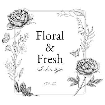ヴィンテージ花のフレームとブランディング、コーポレートアイデンティティ、パッケージ、製品の境界線。