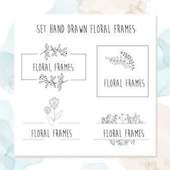 ビンテージ花のフレームデザイン