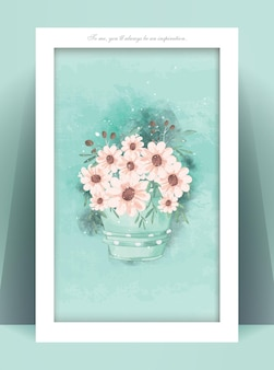 Винтажная цветочная рамка в стиле акварели.