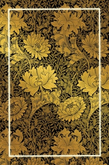Vintage floral frame pattern vector remix from artwork by william morris