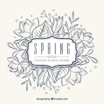 Vintage floral frame spring