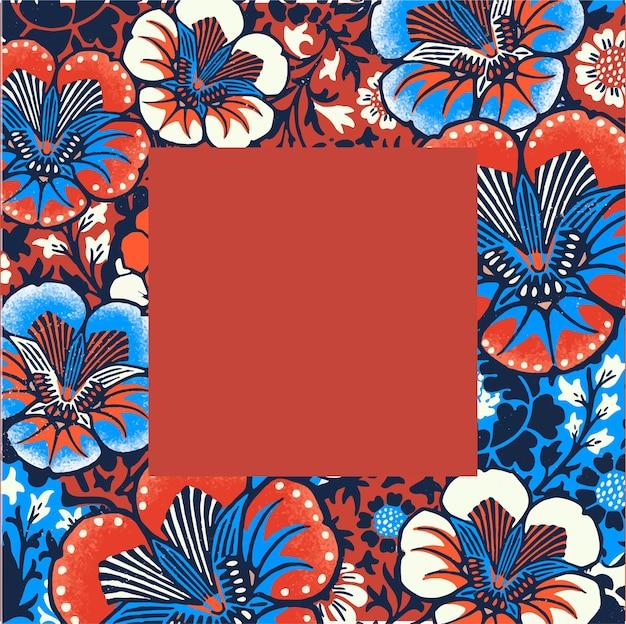 Винтажная цветочная рамка векторная иллюстрация с узором батик, переработанная из произведений искусства, являющихся общественным достоянием