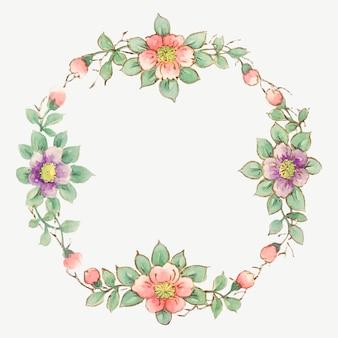 Noritake 공장 중국 도자기 식기 디자인에서 리믹스된 빈티지 꽃 프레임 벡터