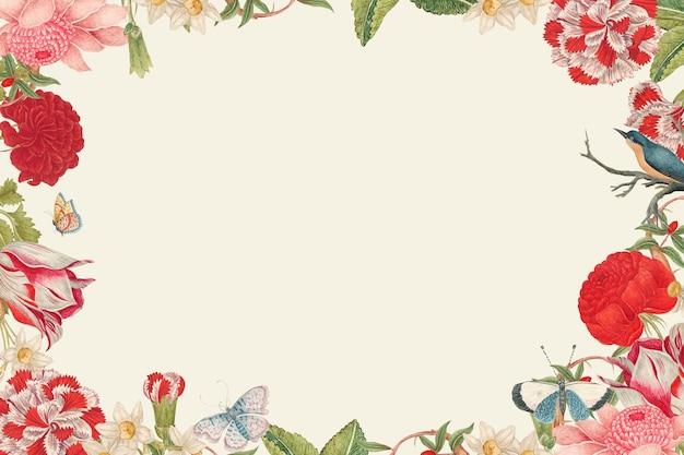 スミソニアンアーカイブの18世紀のアートワークからリミックスされたヴィンテージの花のフレームベクトル。