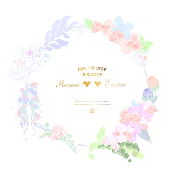 Vintage floral frame in watercolor style.