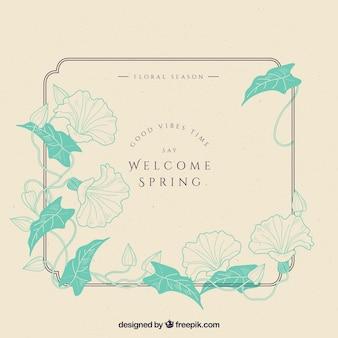 Vintage floral frame welcome spring