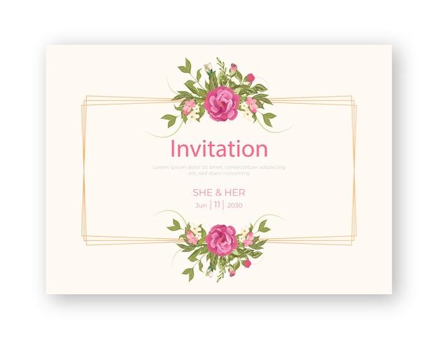 招待状カードのテンプレートとヴィンテージの花のフレーム