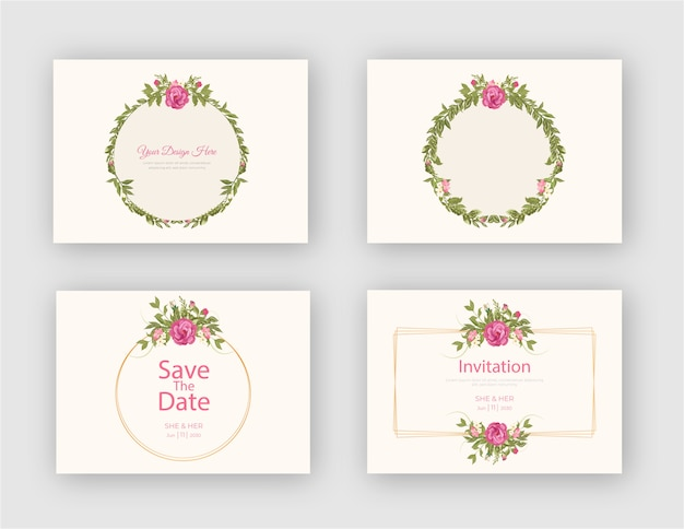 Vintage floral frame with invitation card template