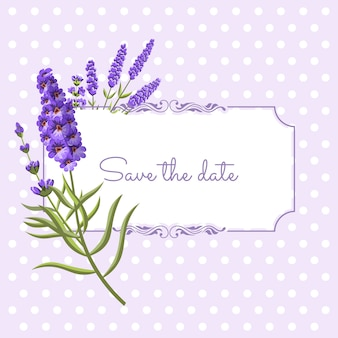 Vintage floral frame with lavender in provence style on dots background.