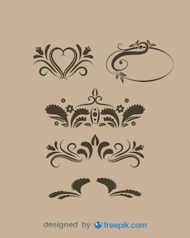 Vintage floral graphic decorative elements
