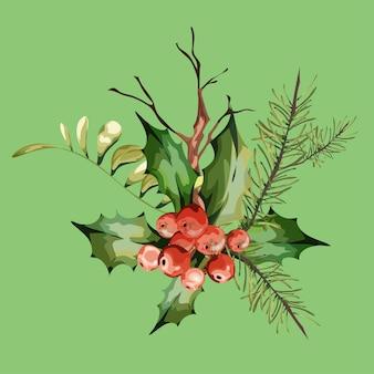 ヴィンテージの花のグリーティングカード、松と乾燥した枝、赤いベリー、山の灰と春または夏の装飾。カラフルなイラスト。