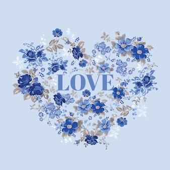 Vintage floral heart - for valentine's day