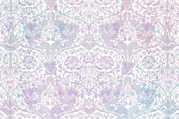 Vintage floral holographic  pattern remix from artwork by william morris