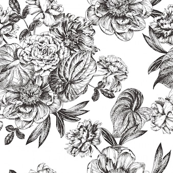 Vintage floral  illustration, etching hand drawn clip art.