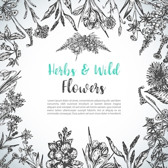 Vintage floral invitation with wild flowers