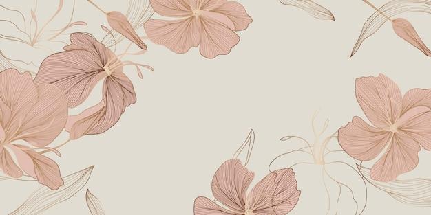 ヴィンテージ花柄ラインアート壁紙デザイン