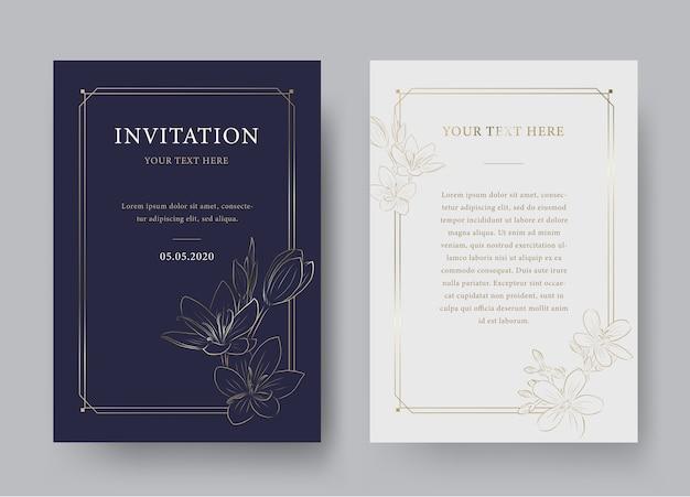Винтажный цветочный шаблон роскошного приглашения