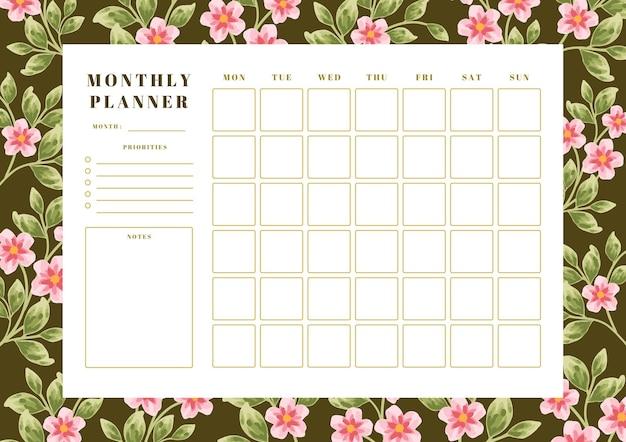 Винтажный цветочный шаблон ежемесячного планировщика
