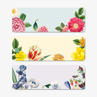 Vintage floral nature concept title label vector