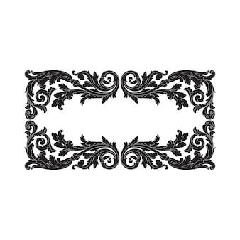 Старинный цветочный орнамент декоративных рамок и бордюров