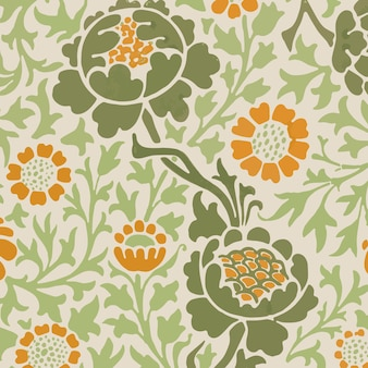 ヴィンテージ花飾りシームレスパターン背景