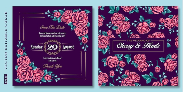 Vintage floral roses wedding invitation in dark background