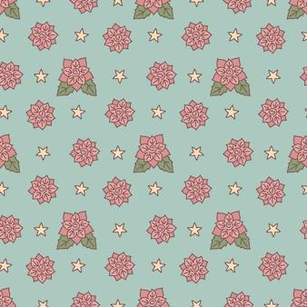 Vintage floral seamless pattern on blue
