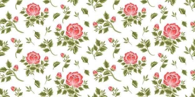 赤い牡丹の花束、花のつぼみ、葉の枝の配置のヴィンテージの花のシームレスなパターン