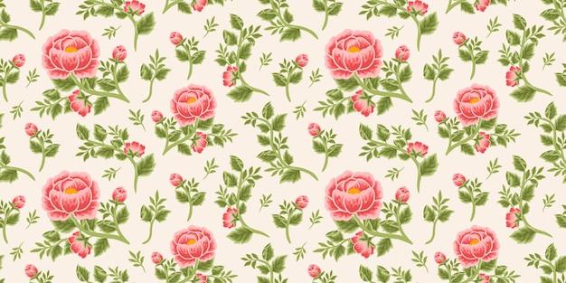 Винтажный цветочный фон из красных пионов, букета, бутонов и ветвей листьев