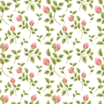 Vintage floral seamless pattern of pink and red rose flower buds with leaf branch arrangements