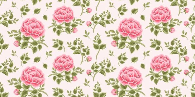Vintage floral seamless pattern of pink rose bouquet, flower buds and leaf branch arrangements