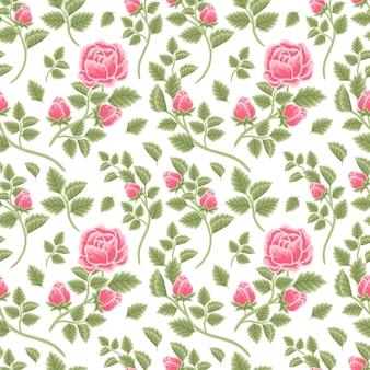 Vintage floral seamless pattern of pink rose flower buds and leaf branch arrangements