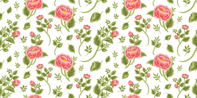Vintage floral seamless pattern of red peony bouquet, flower buds and leaf branch arrangements