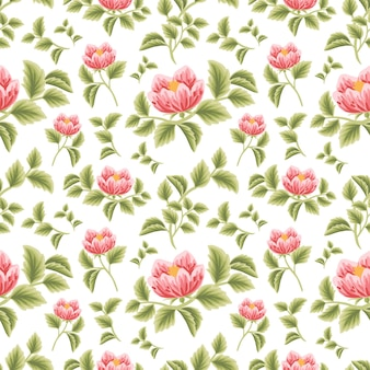 Vintage floral seamless pattern of red peony flower buds with leaf branch arrangements