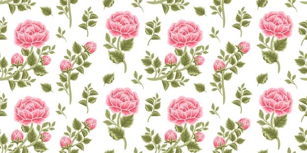 Vintage floral seamless pattern of red rose bouquet, flower buds and leaf branch arrangements