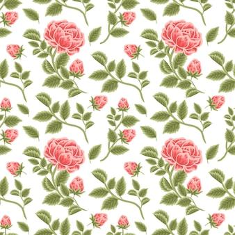Vintage floral seamless pattern of red rose flower buds and leaf branch arrangements