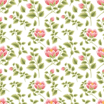 Vintage floral seamless pattern of red rose and peony flower buds with leaf branch arrangements