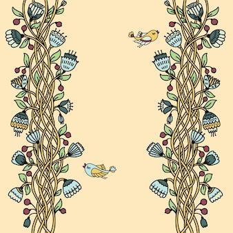 ヴィンテージの花柄のシームレスなパターン。ベクトルイラスト。