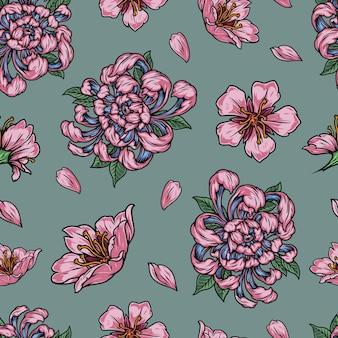 美しいピンクの日本の花と花びらとヴィンテージの花のシームレスなパターン