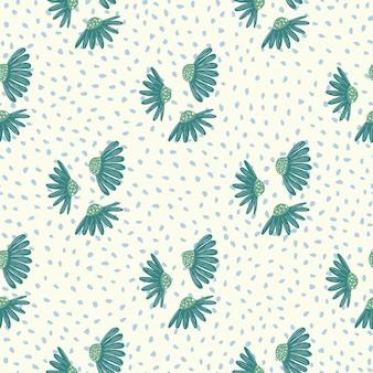 青いカモミールの花飾りとヴィンテージの花のシームレスなパターン