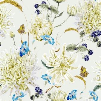 菊とビンテージ花柄シームレス