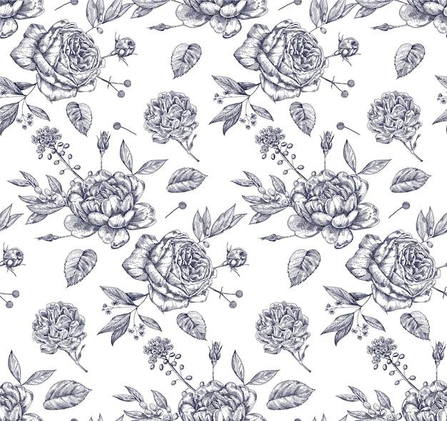 손으로 그린 장미와 빈티지 꽃 완벽 한 패턴입니다.