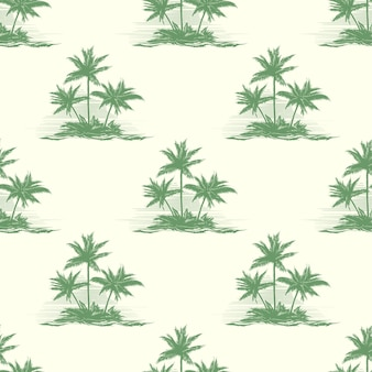 Vintage floral seamless pattern with palm trees.
