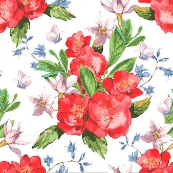 バラと野生の花のヴィンテージ花柄シームレス
