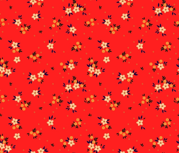 小さな花とヴィンテージ花柄シームレスパターン