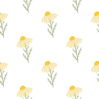 黄色のかわいいデイジーの花がプリントされたヴィンテージ花柄シームレス