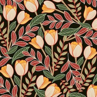 ヴィンテージ花柄シームレスパターン