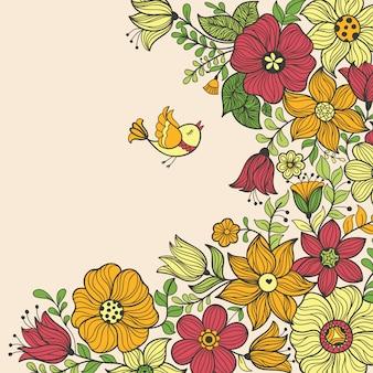 ビンテージ花柄シームレスパターン。