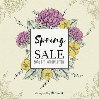 Vintage floral spring sale background