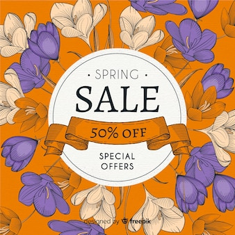 Vintage floral spring sale background